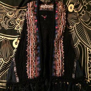 Free People Embroidery Fringe boho festival vest